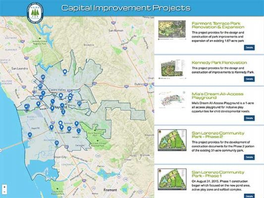 Hayward Area Recreation and Parks District ProjectExplorer Landing Page