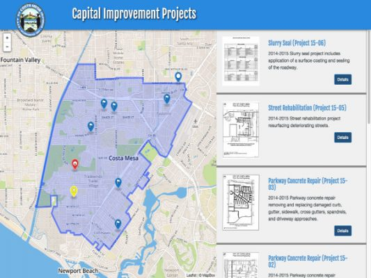 Costa Mesa Capital Improvement Projects ProjectExplorer Main Landing Page