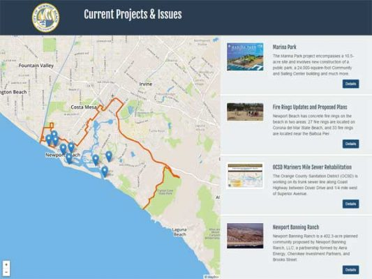 Newport Beach Projects and Issues ProjectExplorer Main Landing Page